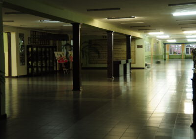 Zdjęcie przedstawia korytarze hali z witrynami na których stoją puchary